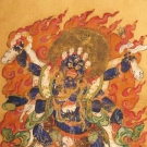 EXTREMELY RARE HANDPAINTED SILK THANGKA, BHUTAN, 18th – 19th C.