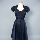 ADRIAN BLUE SILK EVENING GOWN, 1940s