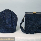 2 BLUE CARNIVAL GLASS HAND BAGS, 1940s