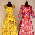 TWO SILK CHINE PRINT BALLGOWNS, 1950s