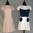 TWO COURREGES DAY DRESSES, MID 1960s