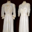 TWO WHITE LAWN TEA GOWNS, 1905-1910