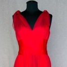 RED CHIFFON GRECIAN EVENING GOWN, c. 1960