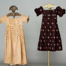TWO LITTLE GIRLS' CALICO DRESSES, 1810-1825