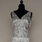 GALANOS BEAD & FEATHER EVENING GOWN, 1970s