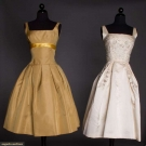 TWO SILK PARTY DRESSES, LATE 1950s