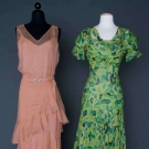 2 PRINTED CHIFFON GOWNS, 1930s
