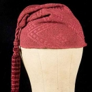 RED SILK KNIT WORKMAN'S CAP, SARDINIA, 17TH C