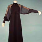 JAMES GALANOS BLACK EVENING GOWN, 1973