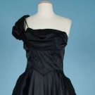 CEIL CHAPMAN BLACK SATIN EVENING GOWN, LATE 1940s