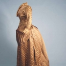 TAN SILK BROCADE BUSTLE GOWN, LATE 1880s