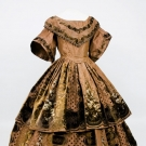 PRINTED & VOIDED VELVET EVENING GOWN, 1850s