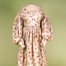 PRINTED SILK & WOOL DAY DRESS, 1835-1840