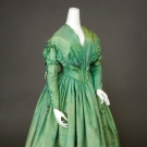 GREEN CHANGEABLE SILK DRESS, 1840s