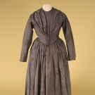 HEATHERED SATIN DAY DRESS, 1840s