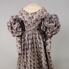 PURPLE PRINTED MATERNITY DRESS, 1828-1835