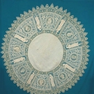 ROUND LINEN & LACE CLOTH, c. 1900