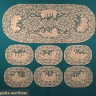 TWELVE SCENIC LACE PLACEMATS & RUNNER SET, 1910s