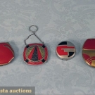 4 RED ENAMEL ART DECO COMPACTS, 1920-1930s