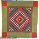 AMISH FINE WOOL PIECED QUILT, EARLY 20th C