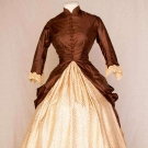 TWO TONE SILK BUSTLE DRESS, c. 1880