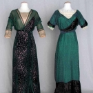 TWO GREEN EVENING GOWNS, 1912-1914