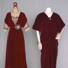 TWO RED VELVET EVENING GOWNS, 1912-1918