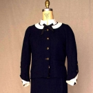 NAVY CHANEL COUTURE 3-PIECE SKIRT SUIT, 1962-1963