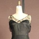 BLACK SILK & LACE EVENING GOWN, 1930s