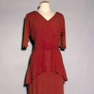 CINNAMON SILK CREPE EVENING GOWN, c. 1940