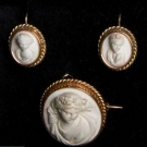 GOLD & LAVA CAMEO SET, 19TH C