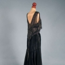 BEADED SATIN TRAINED EVENING GOWN, 1930s