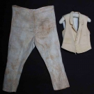 MAN'S CREAM VEST & PANTS, MA., EARLY-MID 19TH C