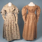 TWO ROLLER PRINTED COTTON DAY DRESSES, 1825-1839