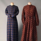 TWO WOOL MATERNITY DAY DRESSES, 1850-1865