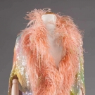 ADOLFO SEQUINED & FEATHERED EVENING CAPE, 1980s
