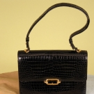 HERMES BLACK ALLIGATOR HANDBAG, LATE 20th C