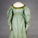 GREEN SILK APRON FRONT GOWN, 1820s