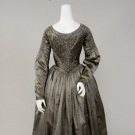 PEWTER GREY SILK SATIN DRESS, 1840s