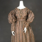 STRIPED FLORAL COTTON DRESS, 1825-1830