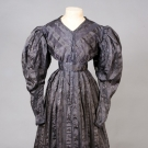 GAUZE JACQUARD SILK MOURNING GOWN, 1830s