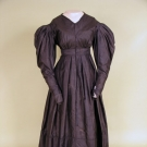 BLACK SILK MOURNING DRESS, c. 1839