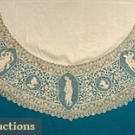 ROUND LINEN & LACE TABLECLOTH, c. 1900