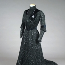 RUSSIAN LABEL BLACK TEA GOWN, c. 1905